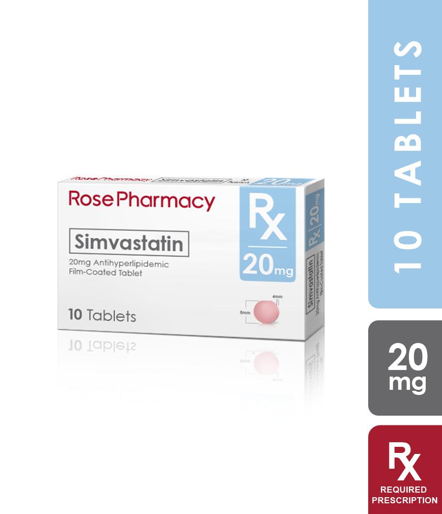 Simvastatin 20mg Tablet 10x1 Rose Pharmacy Generics